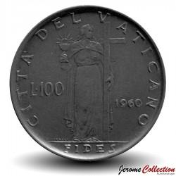 VATICAN - PIECE de 100 Lires - Fides (La foi) - Jean XXIII - 1960 Km#64