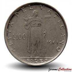 VATICAN - PIECE de 100 Lires - Fides (La foi) - Jean XXIII - 1961 Km#64