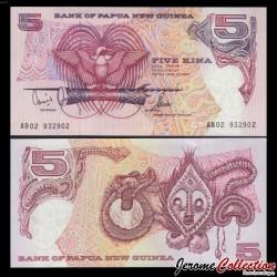 PAPOUASIE NOUVELLE GUINEE - Billet de 5 Kina - Oiseau de paradis - 1989