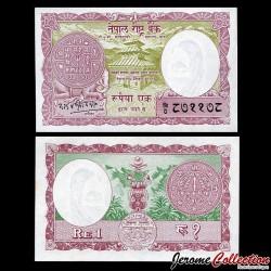 NEPAL - Billet de 1 Roupie - Temple - 1965