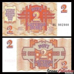 LETTONIE - Billet de2 Latvijas Rublis (Roubles letton) - 1992 P36a