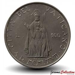 VATICAN - PIECE de 100 Lires - Saint-Pierre assis sur le Trône - Paul VI - 1967 Km#98