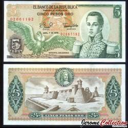 COLOMBIE - Billet de 5 Pesos Oro - 1979 P406f.2