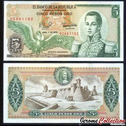 COLOMBIE - Billet de 5 Pesos Oro - 1978 P406f.1