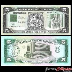 LIBERIA - Billet de 5 Dollars - Récolte du Caoutchouc - 1991