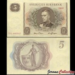 SUEDE - Billet de 5 Couronnes - Le roi Gustave VI Adolf - 1962 P50a