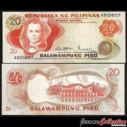 PHILIPPINES - Billet de 20 Piso - Manuel Quezon - 1970