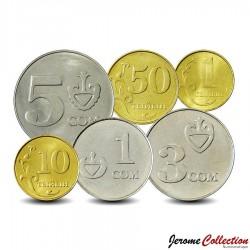 KIRGHIZISTAN - SET / LOT de 6 PIECES de 1 10 50 Tyiyn 1 3 5 Som - 2008 / 2009 Km#11 12 13 14 15 16