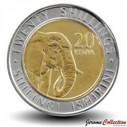 KENYA - PIECE de 20 shillings - Bimétal - Elephant - 2018 Km#new