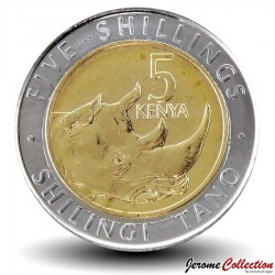 KENYA - PIECE de 5 shillings - Bimétal - Rhinocéros - 2018 Km#new