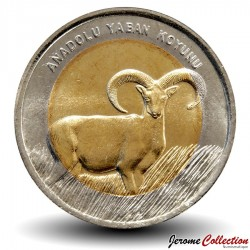 TURQUIE - PIECE de 1 Lira - Mouflon d'Anatolie - 2015