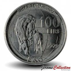 ITALIE - PIECE de 100 Lires - Vache et son veau - Fao - 1979 Km#106