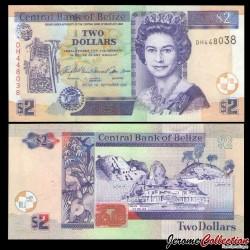 BELIZE - Billet de 2 Dollars - Ruines mayas du Belize - 2007 P66c