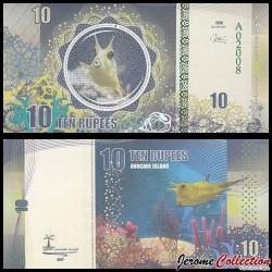 AVOCARE ISLAND / ILE MAURICE - Billet de 10 Roupies - Poisson Lactoria cornuta - 2016 0010