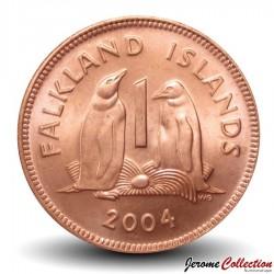 MALOUINES / FALKLAND - PIECE de 1 Penny - Couple de Manchot papou - 2004 Km#130