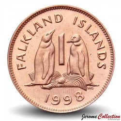 MALOUINES / FALKLANDS - PIECE de 1 CENT - Couple de Manchot papou - 1998