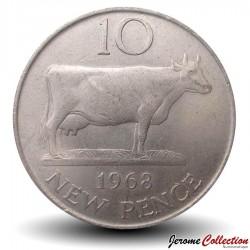 GUERNESEY (île de) - PIECE de 10 Pence - Vache Guernesey - 1968 Km#24