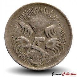 AUSTRALIE - PIECE de 5 Cents - Echidné australien - 1967 Km#64