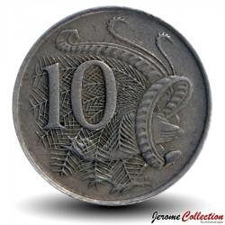 AUSTRALIE - PIECE de 10 Cents - Oiseau Ménure superbe - 1967 Km#65