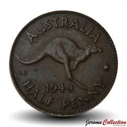 AUSTRALIE - PIECE de 1/2 Penny - Kangourou - 1949 Km#42