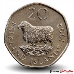 MALOUINES / FALKLAND - PIECE de 20 Pence - Une brebis - 1992 Km#17