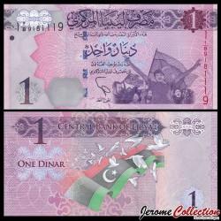 LIBYE - Billet de 1 Dinar - Drapeau Libyen - 1993 P76a