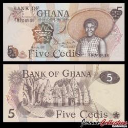 GHANA - Billet de 5 Cedis - 04.07.1977
