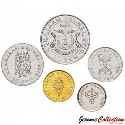 BRUNEI - SET / LOT de 5 PIECES de 1 5 10 20 50 Sen - 2008 2010 2011