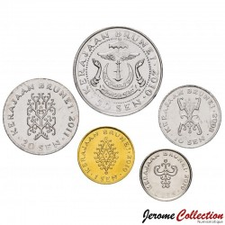 BRUNEI - SET / LOT de 5 PIECES de 1 5 10 20 50 Sen - 2008 2010 2011