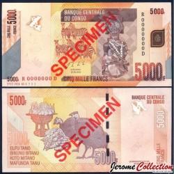 CONGO - BILLET de 5000 Francs - SPECIMEN - Statuette Hemba - 2013