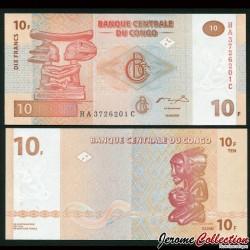 CONGO - BILLET de 10 Francs - Statuettes - 2003