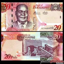 BOTSWANA - Billet de 20 Pula - Kgalemang Tumedisco Motsete - 2014