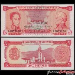 VENEZUELA - Billet de 5 Bolivares - Simón Bolívar, Francisco de Miranda - 29.01.1974 P50h