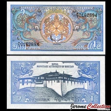 BHOUTAN - Billet de 1 Ngultrum - Semtokha Dzong - 1986 P12b