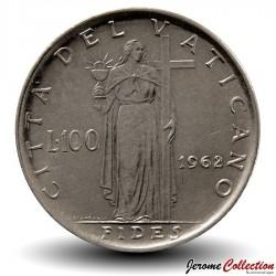VATICAN - PIECE de 100 Lires - Fides (La foi) - Jean XXIII - 1962 Km#64