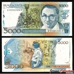 BRESIL - Billet de 5 Crozados Novos - 1989