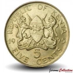 KENYA - PIECE de 5 Cents - Mzee Jomo Kenyatta - 1975