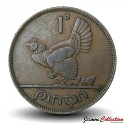 IRLANDE - PIECE de 1 Pingin - Poule et poussins - 1942 Km#11