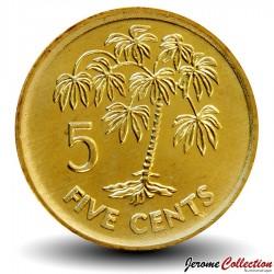 SEYCHELLES - PIECE de 5 Cents - Arbre à Manioc - 2010 Km#47a