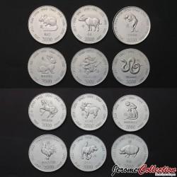 SOMALIE - SET / LOT de 12 PIECES de 10 Shillings - Signes du Zodiaque Chinois - 2000