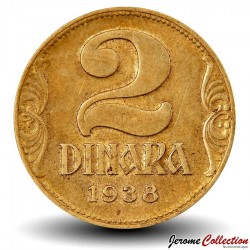 YOUGOSLAVIE - PIECE de 2 Dinara - Couronne - 1938 Km#20