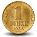 YOUGOSLAVIE - PIECE de 1 Dinar - Couronne - 1938 Km#19