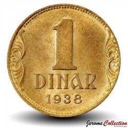 YOUGOSLAVIE - PIECE de 1 Dinar - Couronne - 1938 Km#19
