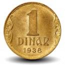 YOUGOSLAVIE - PIECE de 1 Dinar - Couronne - 1938