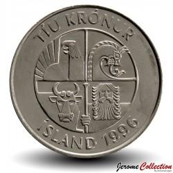 ISLANDE - PIECE de 10 Kronur - Poissons capelans - 1996
