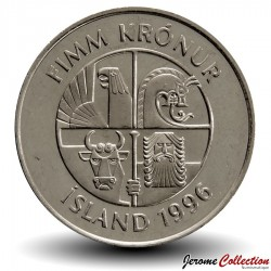 ISLANDE - PIECE de 5 Kronur - Dauphins  - 1996