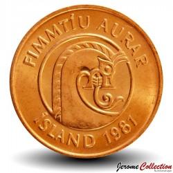 ISLANDE - PIECE de 50 Aurar - Crevette - 1981