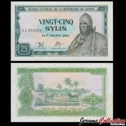 GUINEE - Billet de 25 Sylis - Le roi Behanzin du Dahomey - 1980 P24a