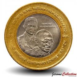 INDE - PIECE de 10 ROUPIES - Gandhi: retour d'Afrique du Sud - 2015 Km#new