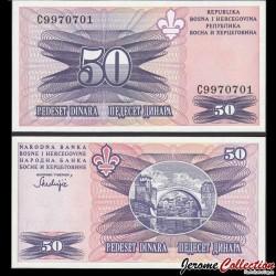 BOSNIE HERZEGOVINE - Billet de 50 Dinara - Pont de Mostar - 1993 P47a